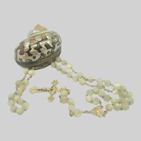 French 'ORIA' Art Nouveau Gold Filled, Mother of Pearl Rosary with Rosary Box