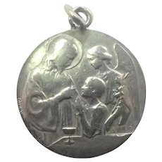 French 1906 Silver Communion Medal with Angel