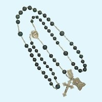 French Victorian Silver and Agate Rosary with Medals