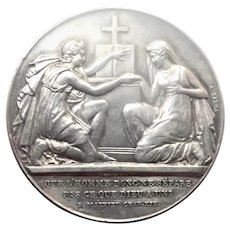 Antique 1887 Silver Marriage Medal - Petit F