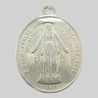 French 19c Silver Double Sided Miraculous and St Louis Medal