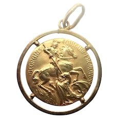 French Circa 1900-1910 St George and Dragon Gold Filled Medal