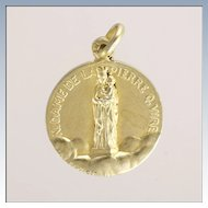 French Antique Small Silver Gold Washed Mary and Jesus Medal - Penin Poncet