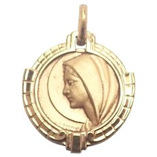 French Small  Gold Filled Our Lady Medal - Contaux