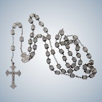 French Antique Silver and Crystal Glass Long Rosary