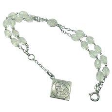 French Art Deco Silver Crystal Bead Dizainier Bracelet