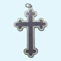English 1915 Sterling Silver Enamel Cross Pendant - JA&S