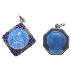 French Art Deco Silver Enamel St Thérèse and Virgin Mary Medal Charms