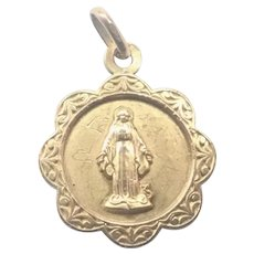 French Gold Filled FIX Small Mary Medal or Charm