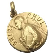 French Art Deco Gold Filled Saint Paul Medal