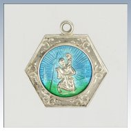 English St Christopher Silver Enamel Charm
