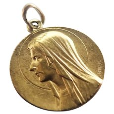 French Deco Double Sided Mary Lourdes Medal - Escudero