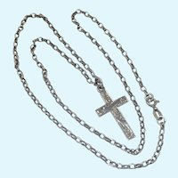Antique 1911 Sterling Silver Cross with Sterling Chain