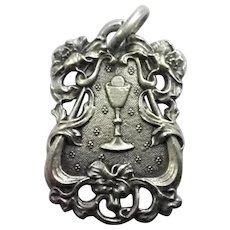 French Art Nouveau 1909 Silver Communion Medal