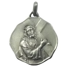French Antique 1914 Silver Jesus and Cross Medal - L O Mottei