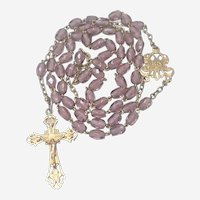 Antique French Silver Gilt Amethyst Glass Rosary