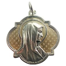 French 1903 Silver Virgin Mary Gothic Style Medal