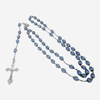 French Antique Silver and Blue Glass Rosary