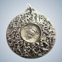 Italian Stations of the Cross Silver Plated Medal