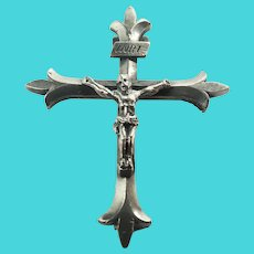 French 19C Silver Crucifix Pin