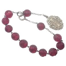French Antique Silver Dizainier or Rosary Bracelet with Communion Medal
