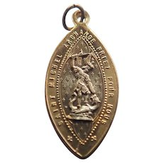 French St Michael and Dragon Medal or Charm
