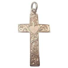 English 9K Gold Engraved Cross Charm