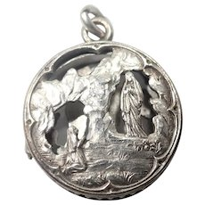 French Antique Silver Plated Lourdes Reliquary Pendant
