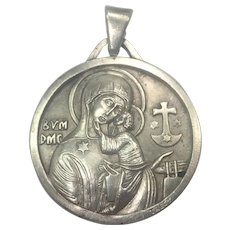 French Large Modernist Silver Plated Virgin & Child Medal - TRECY