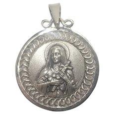 French Art Deco Silver St Thérèse Medal - Tschudin