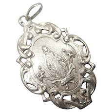 French Art Nouveau Silver Virgin Mary Medal Pendant