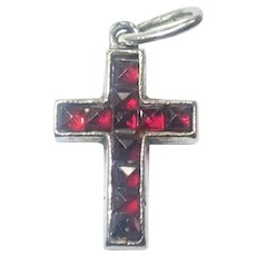 French Miniature Silver and Garnet Cross Charm
