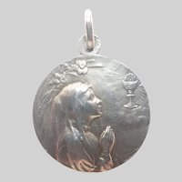 French 1908 Silver Lady Communion Medal - signed