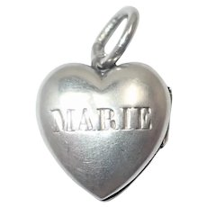 French Antique Silver Mary and Jesus Heart Charm Locket