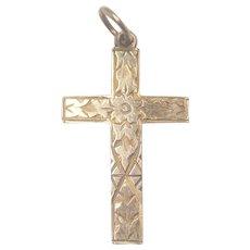 English 1902 9K Gold Cross Pendant