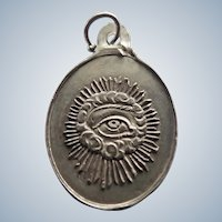French 19c Silver 'Eye of God' St Ghislain Medal