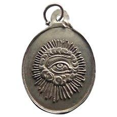 French 19c Silver 'Eye of God' St Ghislain Medal