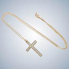 French Gold Filled Pearls Cross and Chain - FIX