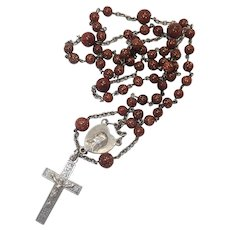 French Antique Silver and Goldstone Rosary