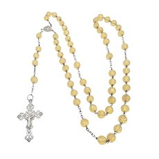 French Antique Silver and Citrine Glass Beads Rosary