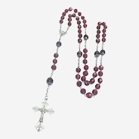 French Late Victorian Silver and Ruby Glass Rosary