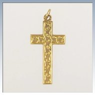 English 1912  9K Gold Ivy Engraved Cross - CDB