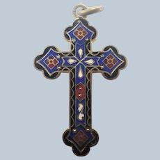 French Victiorian Enamel on Gilt Brass Cross Pendant