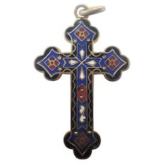 French Victiorian Enamel on Gilt Brass Cross Pendant