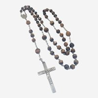 French Antique Silver and Tiger's Eye Quartz Rosary