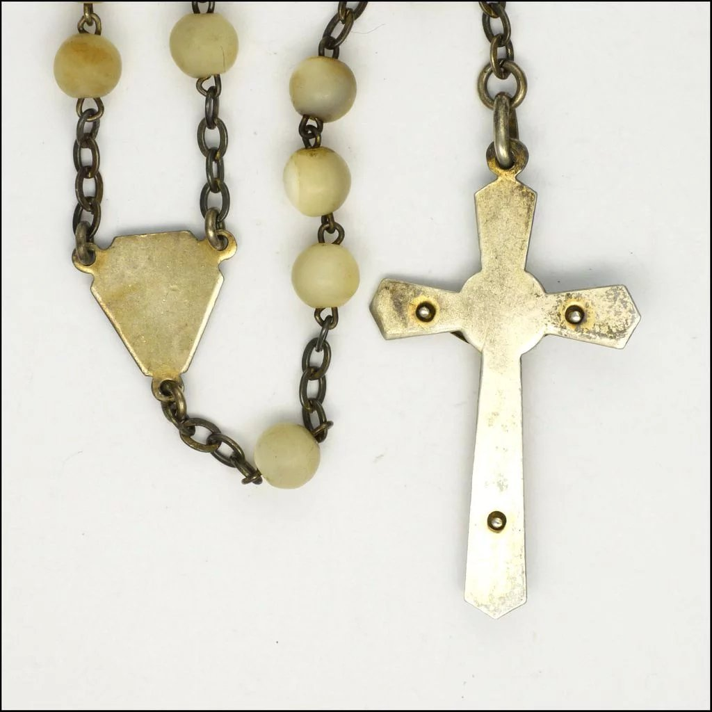French art deco mother of pearl enamel rosary silver for Art deco era dates
