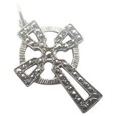 Irish Silver Marcasite Celtic Cross Charm or Pendant