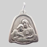 French Circa 1900 Silver Communion Medal