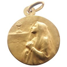 French Gold Filled 'FIX' First Communion Medal - DROPSY