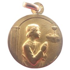 French 1911 Gold Filled 'FIX'  First Communion Medal
